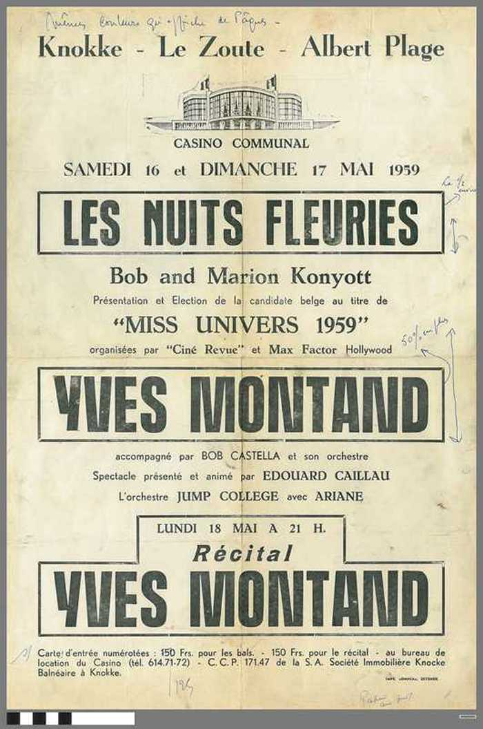 Casino Communal  - Les Nuits Fleuries - 1959 - Yves Montand