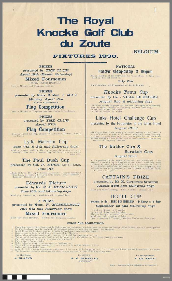 The Royal Knocke Golf Club du Zoute - Fixtures 1930